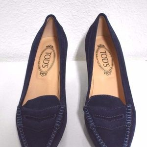 Tod's Women's Navy Blue Suede Loafers Kitten Heel